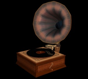 Old fashion gramophone player. 3d modeled